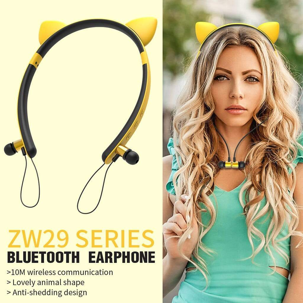 Cat Shape  LED Magnetic Stereo Wireless Bluetooth Earphone Headphone