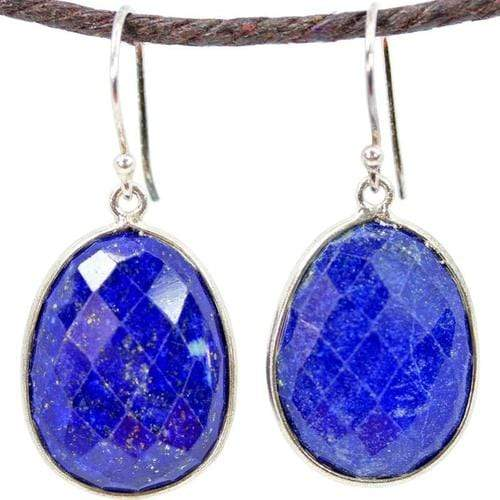 Earrings Lapis Lazuli with Pyrite Specs Large Oval Earrings