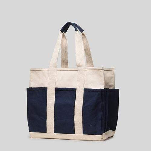 Bags & Wallets 15 x 13 x 7 / Navy Medium Grocery Tote - Outside Pockets