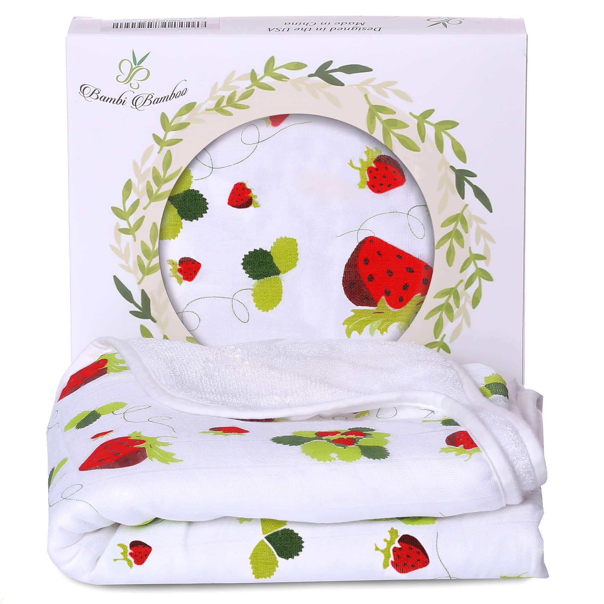 Organic Bamboo Strawberry Hooded Towel for Baby