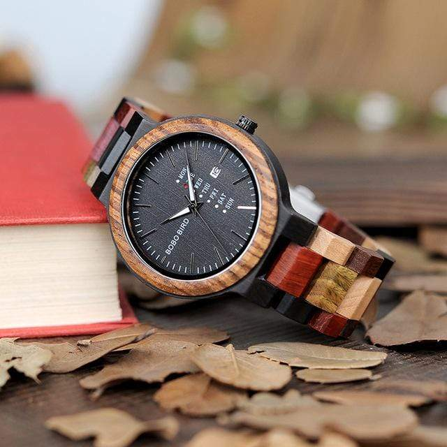 Watches P14 Antique Mens Wood Watches Date and