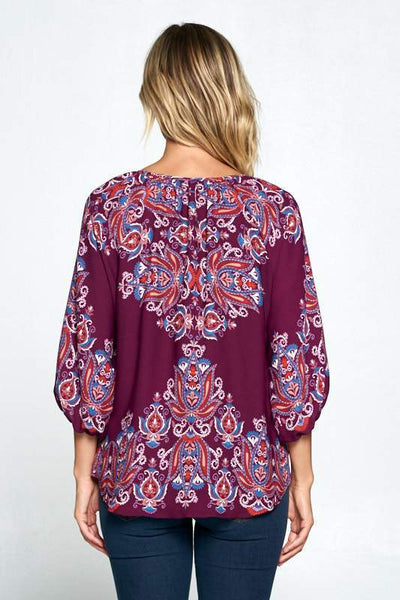 Women's Clothing PLUM PAISLEY PRINT V-NECK 3/4 SLEEVE TOP