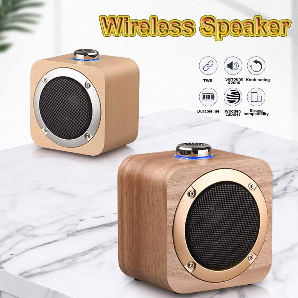 Portable Wireless Rechargeable  Wooden Bluetooth Speaker