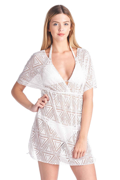 Swimwear Shore Trendz Women's Crochet V-Neck Swimwear