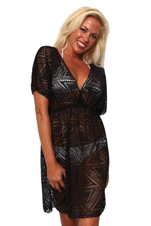 Swimwear ONE SIZE FITS MOST / BLACK Shore Trendz Women's Crochet V-Neck Swimwear