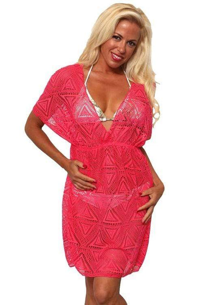 Swimwear One Size Fits Most / HOTPINK Shore Trendz Women's Crochet V-Neck Swimwear