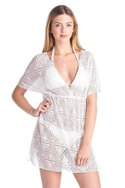 Swimwear ONE SIZE FITS MOST / WHITE Shore Trendz Women's Crochet V-Neck Swimwear