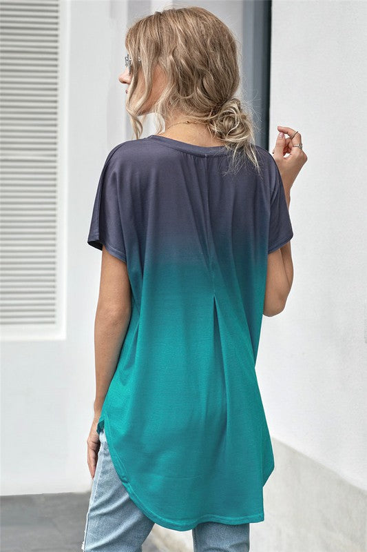 Ombre Color Block Casual Summer Shirt - KaraMarie Boutique