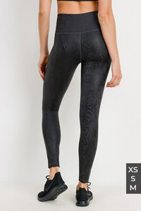 Black Mamba Snake Foil Print Highwaist Leggings - KaraMarie Boutique