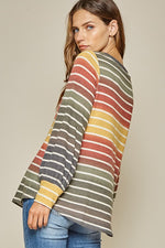 Load image into Gallery viewer, Olive You Forever Striped Top