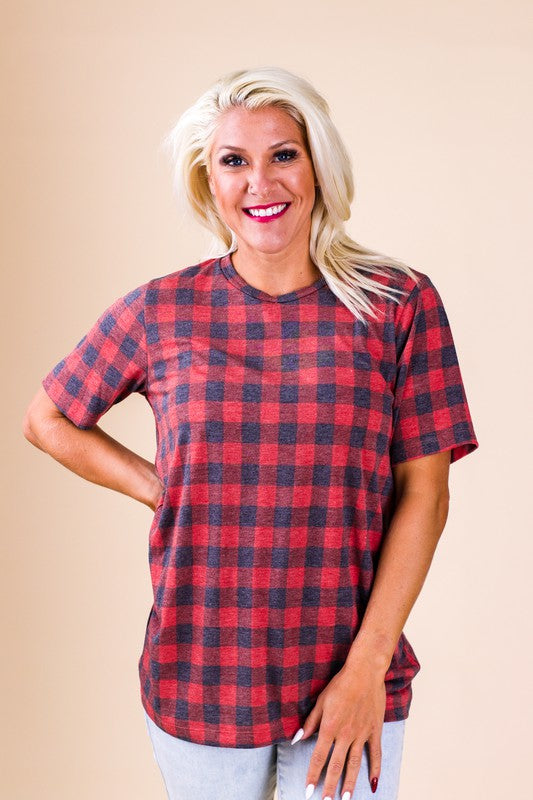 Trendy Faded Buffalo Plaid Tee