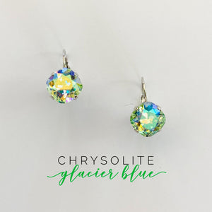 Square Cushion Drop Earrings featuring Chrysolite Glacier Blue
