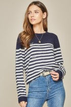 Load image into Gallery viewer, Oh My Stars Striped Sweater - KaraMarie Boutique