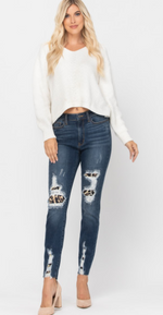 Load image into Gallery viewer, All Weekend Long Leopard Patch Judy Blue Skinny Jeans
