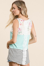 Load image into Gallery viewer, Floral Color-Block Tank with Lace Back - KaraMarie Boutique