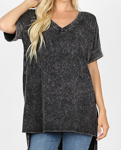 Mineral Wash Rolled Short Sleeve Top - KaraMarie Boutique