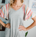 Load image into Gallery viewer, Multi Stripe Flutter Top - KaraMarie Boutique