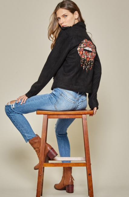 Floral Lips Embroidered Moto Jacket