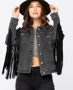 Load image into Gallery viewer, Friday On The Fringe Denim Jacket