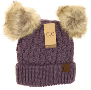 Cable Knit Pom CC Beanie Hat
