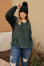 Load image into Gallery viewer, A Cozy Hooded Top in Hunter Green