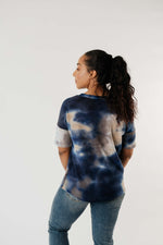 Load image into Gallery viewer, Waffle Knit Tie Dye Top In Midnight