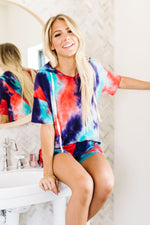 Load image into Gallery viewer, Cheer Me Up Tie Dye Shorts In Aqua