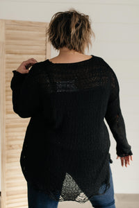 Distressed and Proud Sweater in Black