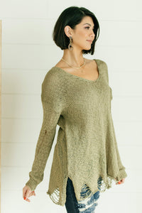 Distressed and Proud Sweater in Moss