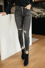 Load image into Gallery viewer, Gray Days Button Rise Jeans