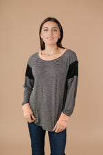 Load image into Gallery viewer, Home Base Contrast Long Sleeve Top In Black