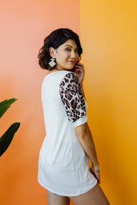 I Love Leopard Top In Ivory - KaraMarie Boutique