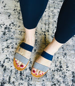 Load image into Gallery viewer, Elastic Double Strap Sandal - Navy - KaraMarie Boutique