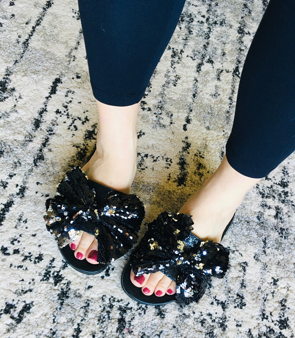 Sequin Bow Slides - KaraMarie Boutique