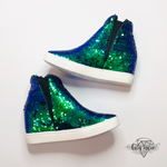 Load image into Gallery viewer, Sequin Hidden Wedge Sneakers - Mermaid Sequin - KaraMarie Boutique