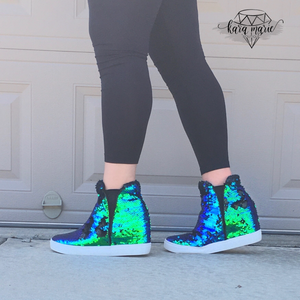 Sequin Hidden Wedge Sneakers - Mermaid Sequin - KaraMarie Boutique