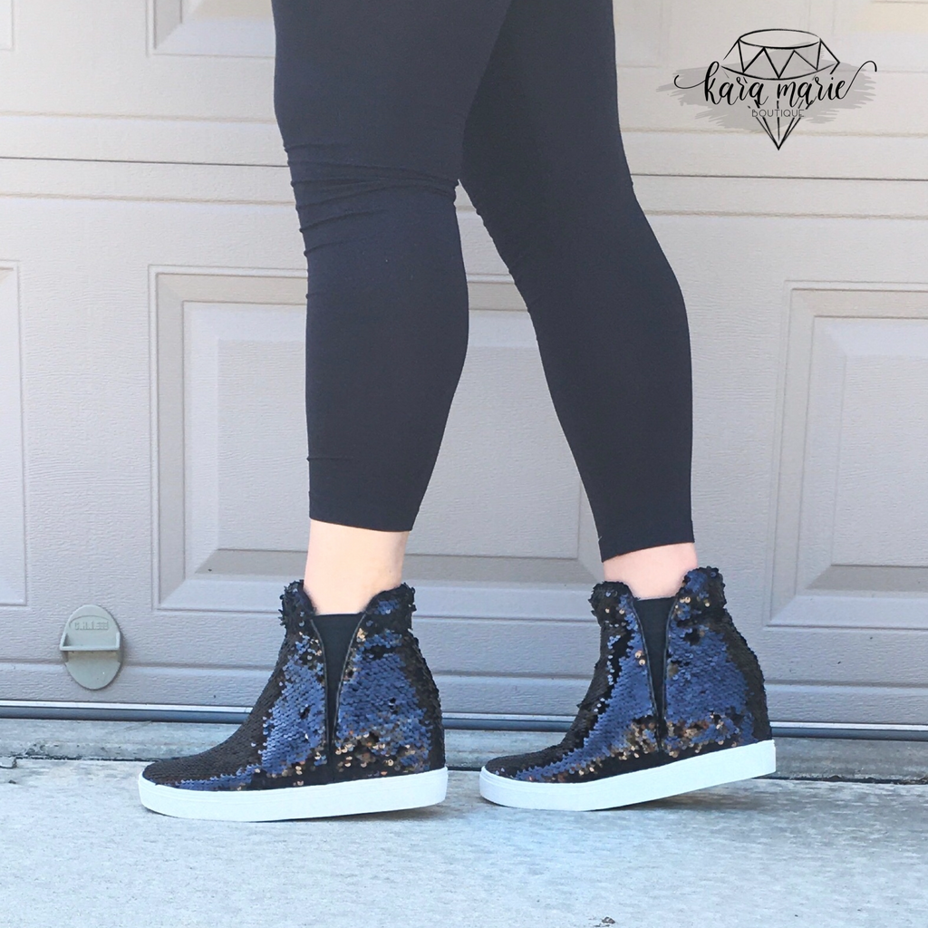 Sequin Hidden Wedge Sneakers - Black Sequin - KaraMarie Boutique
