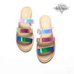 Load image into Gallery viewer, Blue Hologram Flat Sandals - KaraMarie Boutique
