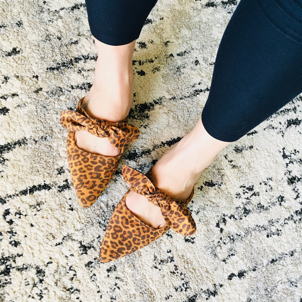 Pointed Toe Bow Flats - Leopard! - KaraMarie Boutique
