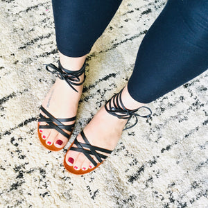 Strappy Sandals - Black - KaraMarie Boutique