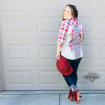 Load image into Gallery viewer, Savanna Jane Plaid Button Up With Embroidered Back - KaraMarie Boutique