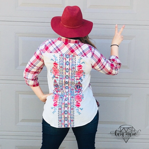 Savanna Jane Plaid Button Up With Embroidered Back - KaraMarie Boutique