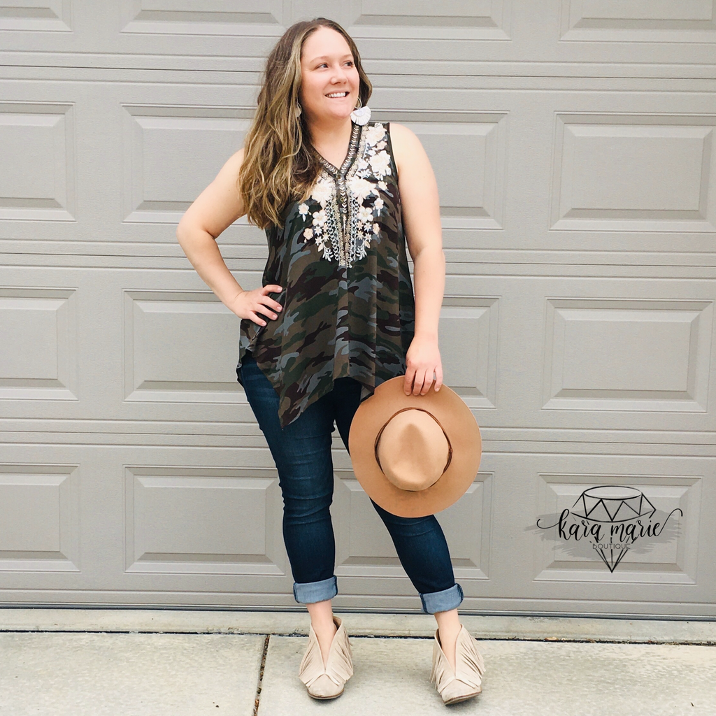 Savanna Jane Camo Embroidered Tank - KaraMarie Boutique