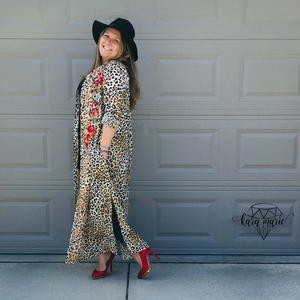 Savanna Jane Leopard Roses Embroidered Long Button Dress or Cover - KaraMarie Boutique