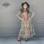 Load image into Gallery viewer, Savanna Jane Leopard Roses Embroidered Long Button Dress or Cover - KaraMarie Boutique