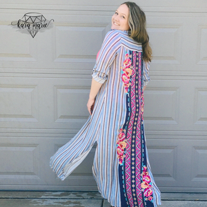 Blue Striped Embroidered Long Button Dress or Cover - KaraMarie Boutique