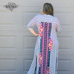 Load image into Gallery viewer, Blue Striped Embroidered Long Button Dress or Cover - KaraMarie Boutique