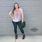 Load image into Gallery viewer, Savanna Jane Cream Embroidered Floral Tank - KaraMarie Boutique