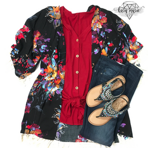 Floral Print Tassel Kimono! Multiple Colors! - KaraMarie Boutique