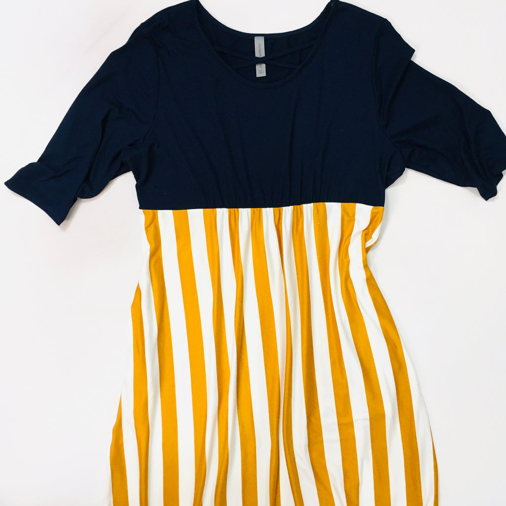 Mustard + Navy Stripe Long Dress - KaraMarie Boutique